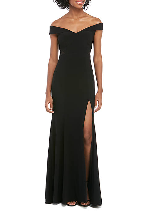 Xscape Off The Shoulder ITY Long Gown