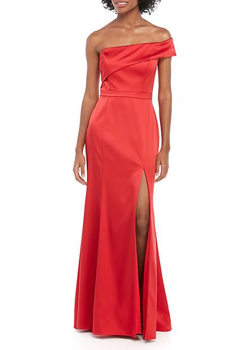 Xscape Off The Shoulder Long Satin Gown