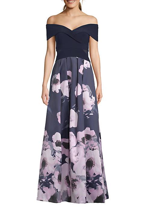 Xscape Off the Shoulder Floral Print Gown