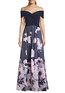 Xscape Off the Shoulder Floral Print Gown