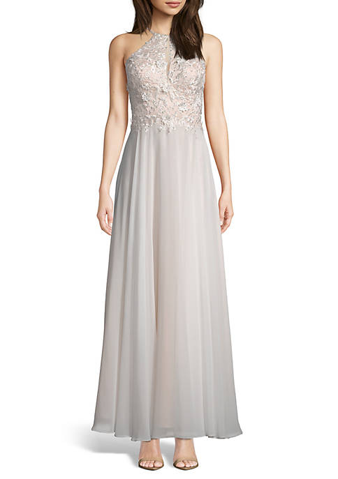 Xscape Embroidered Bodice Chiffon Gown