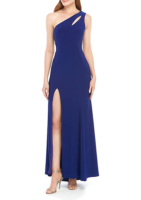 One Shoulder Open Detail Long Gown