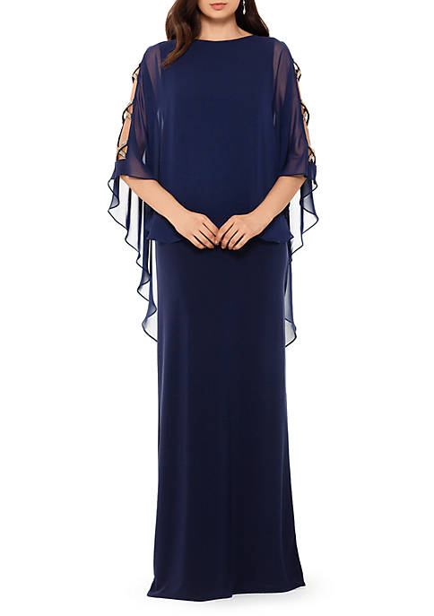 Long Chiffon Overlay Trim Gown