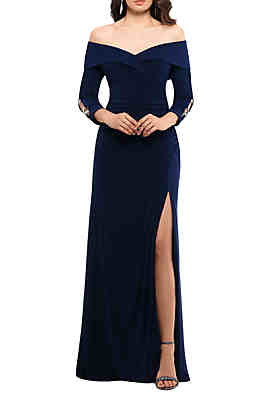 30c6217c871 Xscape Off the Shoulder Long Sleeve Gown ...