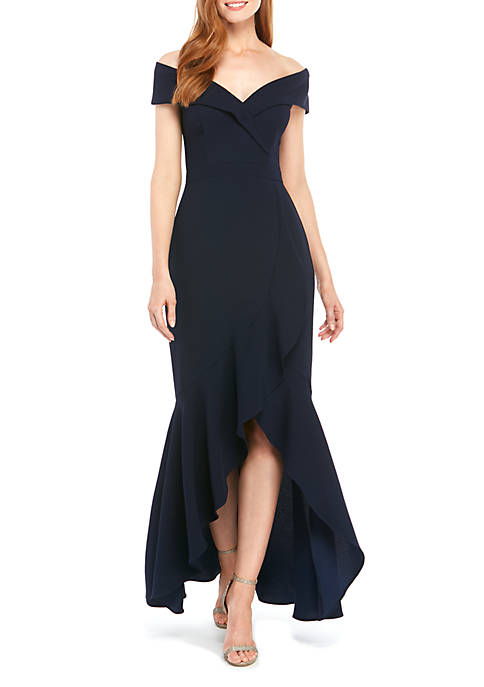 Off The Shoulder Sweetheart Neck High Low Gown