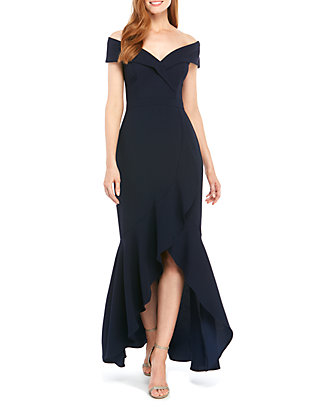 f1eb05b4b8d9 Xscape Off The Shoulder Sweetheart Neck High Low Gown | belk