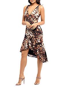 Xscape Sleeveless V Neck Animal Dress