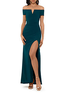 Xscape Off The Shoulder V Neck Long Solid Gown