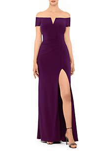 Xscape Off The Shoulder V Neck Long Solid Gown