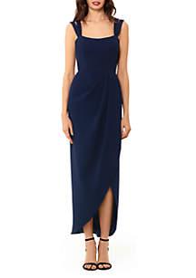 Xscape Double Strap Crepe Midi Dress