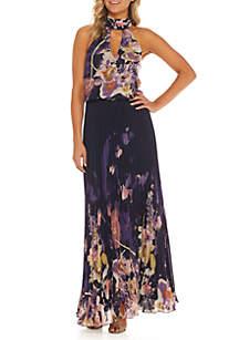 Chiffon Print Blouson Gigi Long Gown