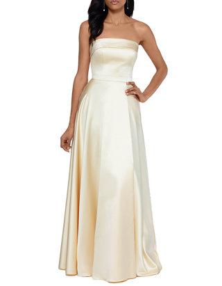 Xscape Women S Strapless Satin A Line Gown Belk