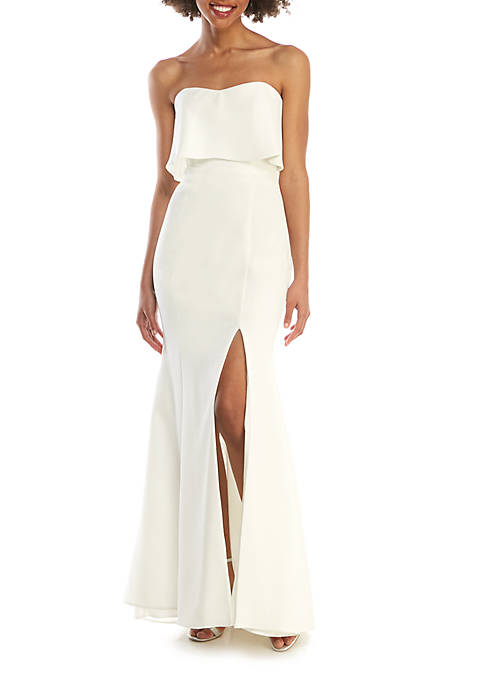 Strapless Crepe Front Slit Gown