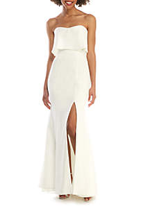 Xscape Strapless Crepe Front Slit Gown