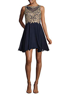 Embroidered Bodice Mesh Party Dress