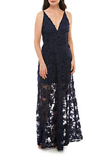 b290df251e04 ... Xscape Sleeveless V Neck Lace Gown