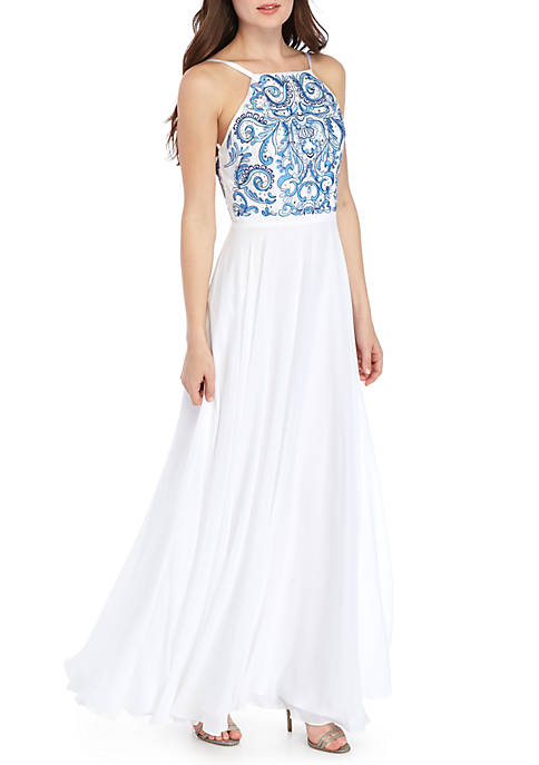 Xscape Illusion Beaded Embroidered Mesh Bodice Gown | belk