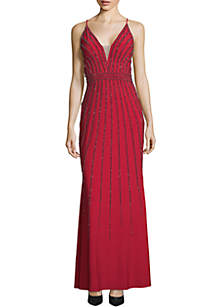 Xscape Beaded Jersey Gown
