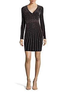 Long Sleeve Short Beaded Dress