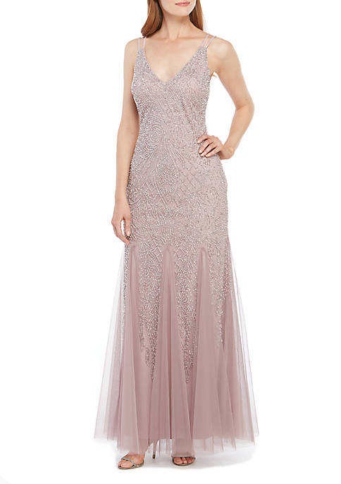 Xscape Long Sleeveless Beaded Gown