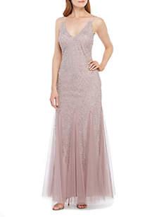Xscape Long Sleeveless Beaded Gown
