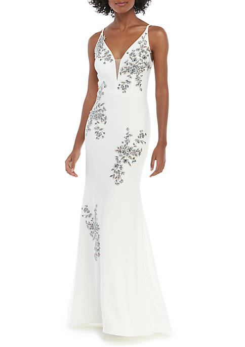 Sleeveless V Neck ITY Embroidered Gown