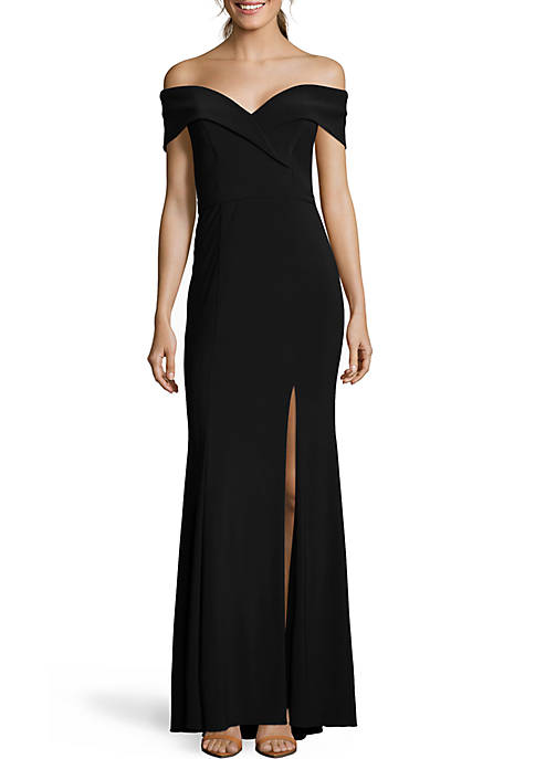 Xscape Long Off-The-Shoulder Gown