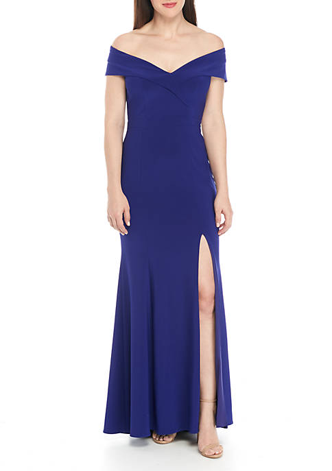 Long Off-The-Shoulder Gown