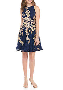 Floral Embroidered Lace Fit-And-Flare Dress