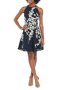 Xscape Floral Embroidered Lace Fit-And-Flare Dress