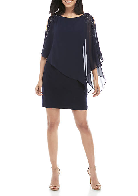 ITY Cocktail Dress with Chiffon Overlay