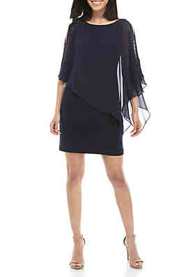 f7dd4759 Xscape ITY Cocktail Dress with Chiffon Overlay ...