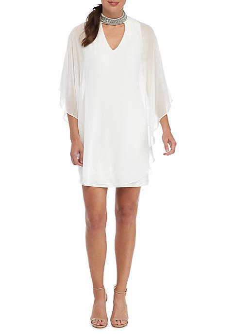 Xscape Embellished High Neck Cocktail Dress   belk