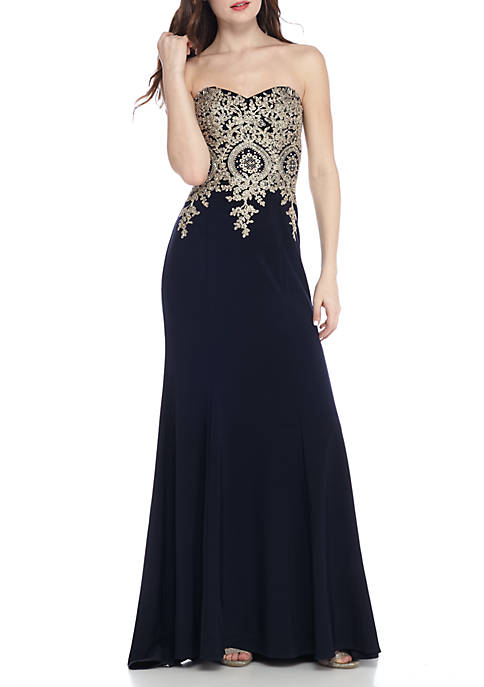 Xscape Strapless Bead Embellished Embroidered Gown | belk