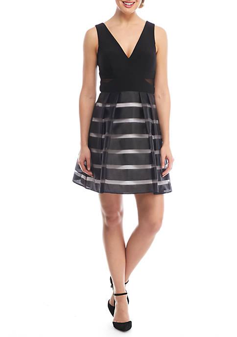 Xscape V-Neck Shadow Stripe Cocktail Dress   belk