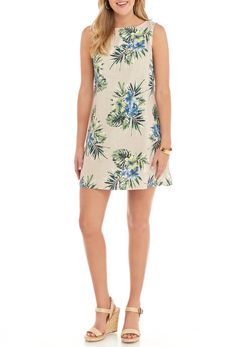 J Howard Womens Sleeveless Tropical Print Dress