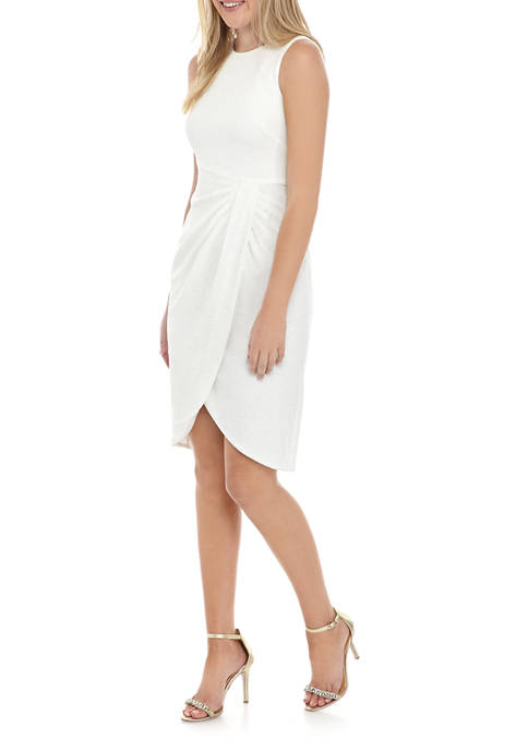 Jessica Howard Womens Sleeveless Glitter Wrap Sheath Dress