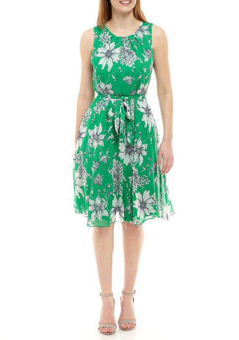 Womens Sleeveless Floral Tie Waist Dress