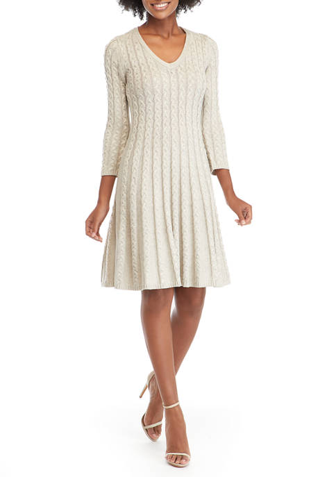 Jessica Howard Womens V-Neck Cable Knit Fit-and-Flare Sweater