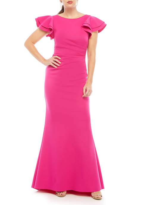 Womens Short Sleeve Ruffle Mermaid Gown