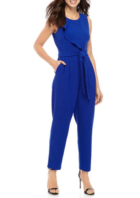 Jessica Howard Womens Asymmetrical Ruffle Jumpsuit