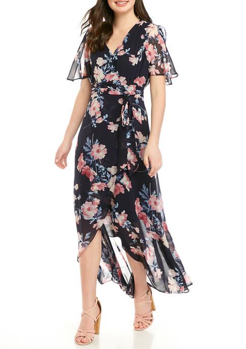 Womens Floral Wrap Maxi Dress