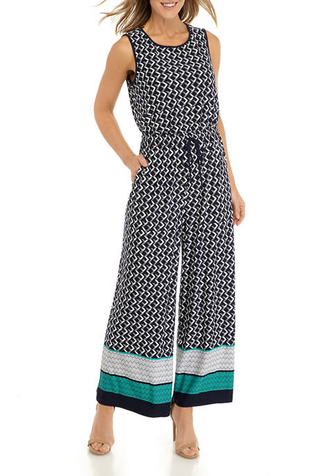 Womens Geometric Border Crop Jumpsuit
