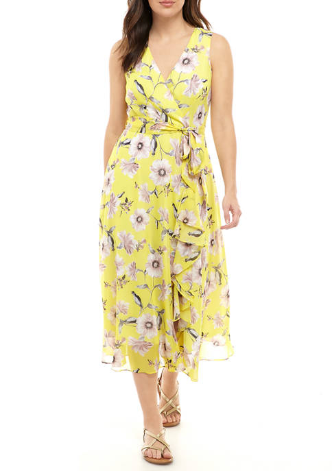 J Howard Womens Ruffle Floral Chiffon Dress