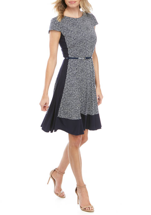 Jessica Howard Womens Short Sleeve Puff Knit Dress