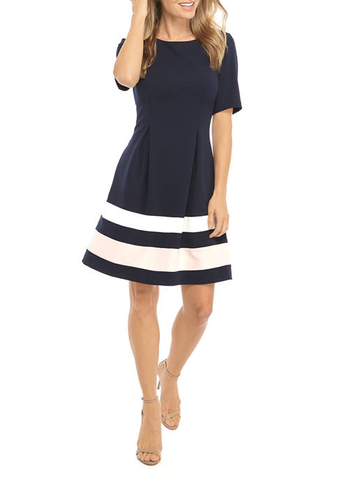 Womens Elbow Sleeve Release Pleat Color Block Dress