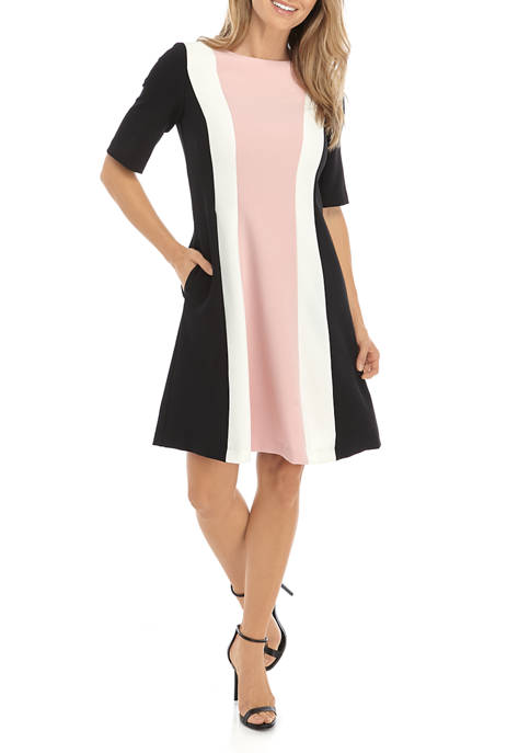 Womens Short Sleeve Color Block Woven Dress