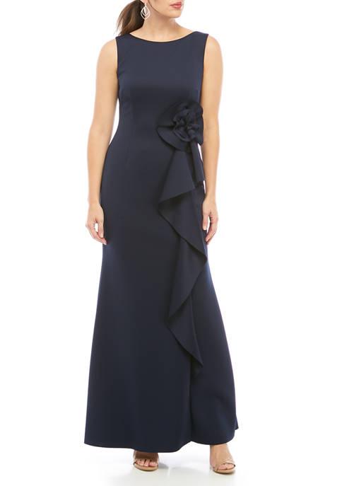 Womens Sleeveless Side Ruffle Maxi Dress
