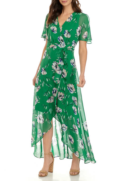 Jessica Howard Womens Butterfly Sleeve Surplus Bodice Maxi