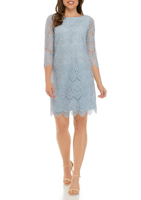 Jessica Howard Womens 3/4 Sleeve Lace Shift Dress